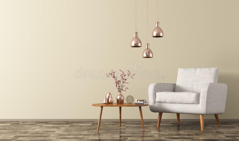 El interior del sitio con la butaca, las lámparas y la mesa de centro 3d rinden stock de ilustración