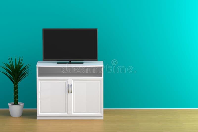 El interior del sitio vacío con TV, sala de estar llevó la TV en la pared azul con estilo moderno del desván de la tabla de mader foto de archivo libre de regalías