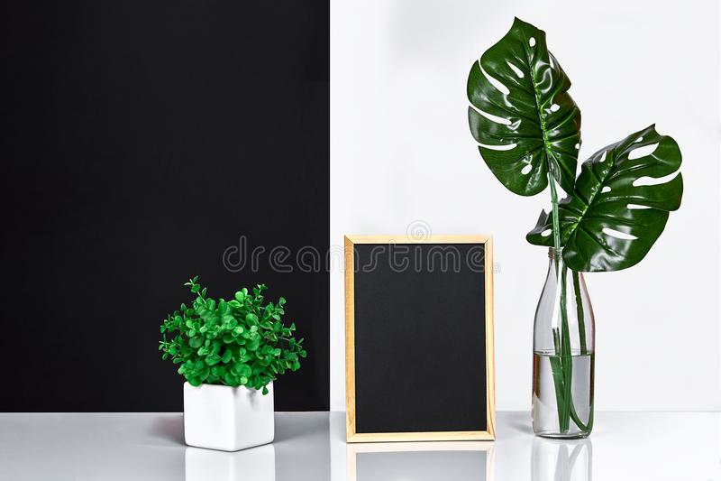 El interior elegante con mofa encima del marco del cartel, hojas en la botella de cristal en la tabla con la pared blanco y negro fotografía de archivo