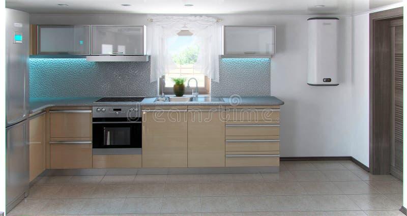 El interior en forma de L de la cocina del minimalismo, 3d rinde libre illustration