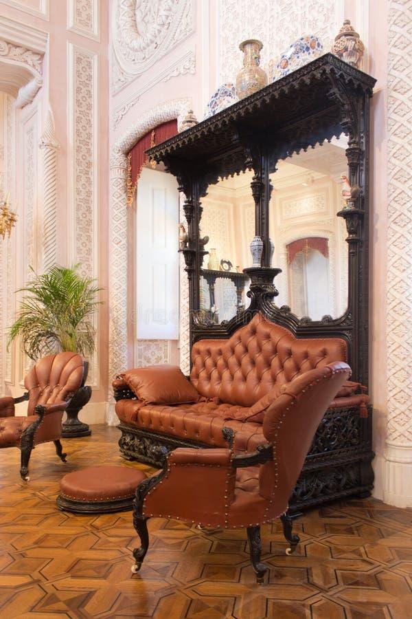 El interior histórico del pasillo El castillo en Sintra imagen de archivo libre de regalías
