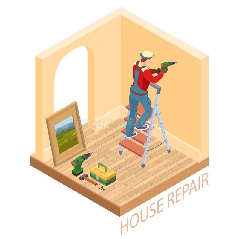 El interior isométrico repara concepto El trabajador está perforando una pared libre illustration