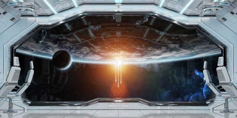 El interior limpio blanco de la nave espacial con la opinión sobre la tierra 3D del planeta arranca ilustración del vector