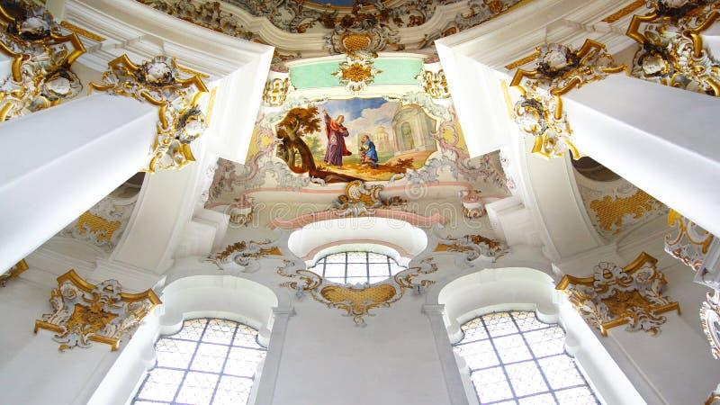 El interior lujoso de la iglesia Wieskirche foto de archivo libre de regalías