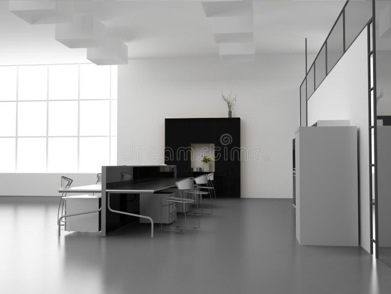 El interior moderno de la oficina stock de ilustración