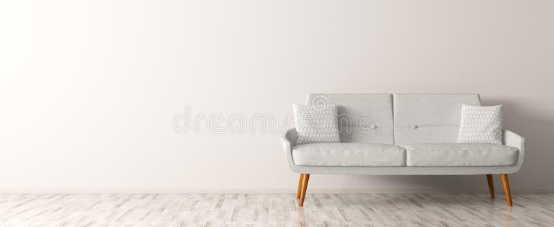El interior moderno de la sala de estar con el sofá blanco 3d rinde stock de ilustración