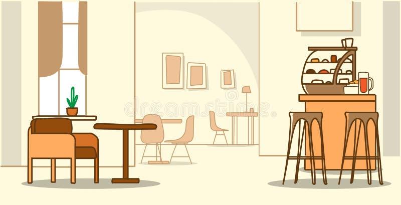 El interior moderno del café no vacia a ninguna persona que la cafetería con bosquejo de los muebles garabatea horizontal libre illustration