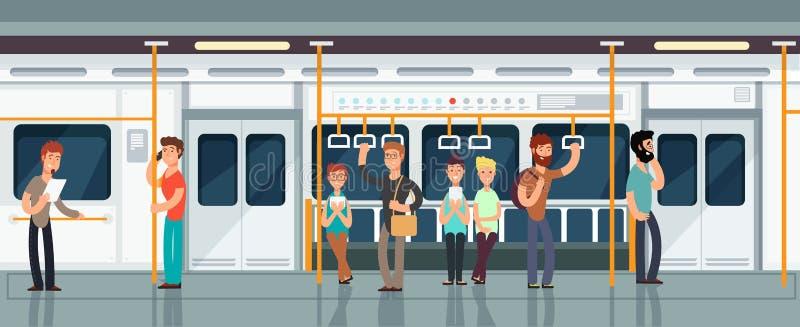 El interior moderno del carro del pasajero del subterráneo con la gente vector el ejemplo libre illustration