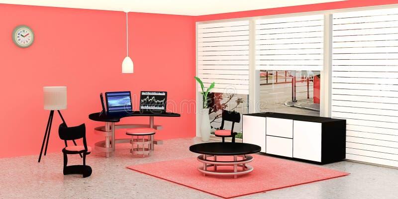El interior moderno del sitio de trabajo, equipo de escritorio negro 3 puso en una tabla de cristal delante de la pared anaranjad stock de ilustración
