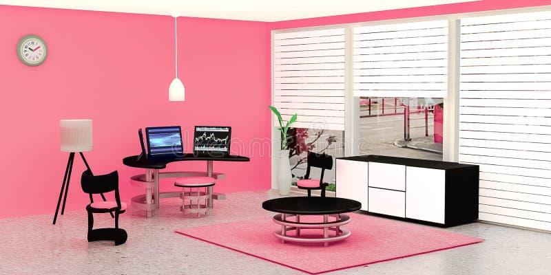 El interior moderno del sitio de trabajo, equipo de escritorio negro 3 puso en una tabla de cristal delante de la pared rosada ilustración del vector