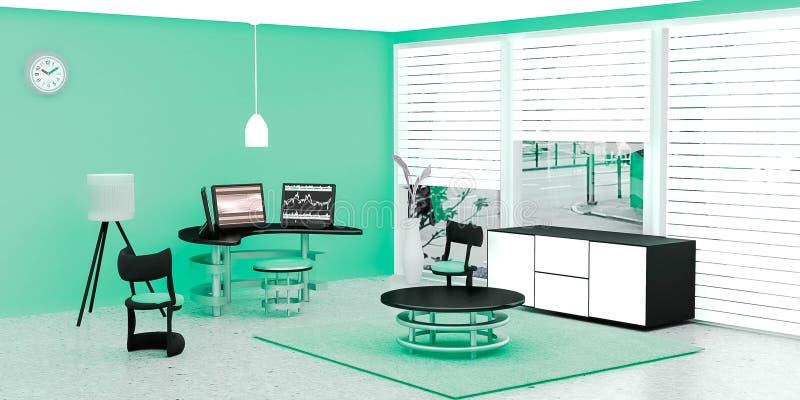 El interior moderno del sitio de trabajo, equipo de escritorio negro 3 puso en una tabla de cristal delante de la pared verde libre illustration