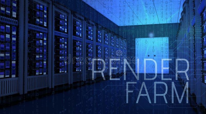 el interior moderno del sitio del servidor en datacenter con rinde el te de la granja ilustración del vector
