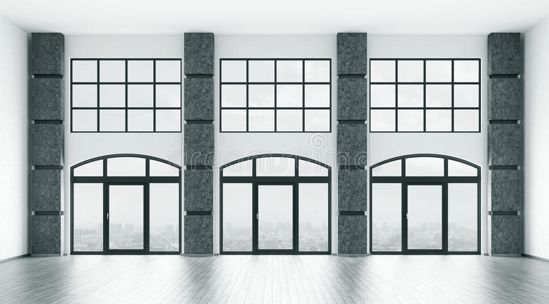 El interior vacío con las ventanas grandes 3d rinde stock de ilustración
