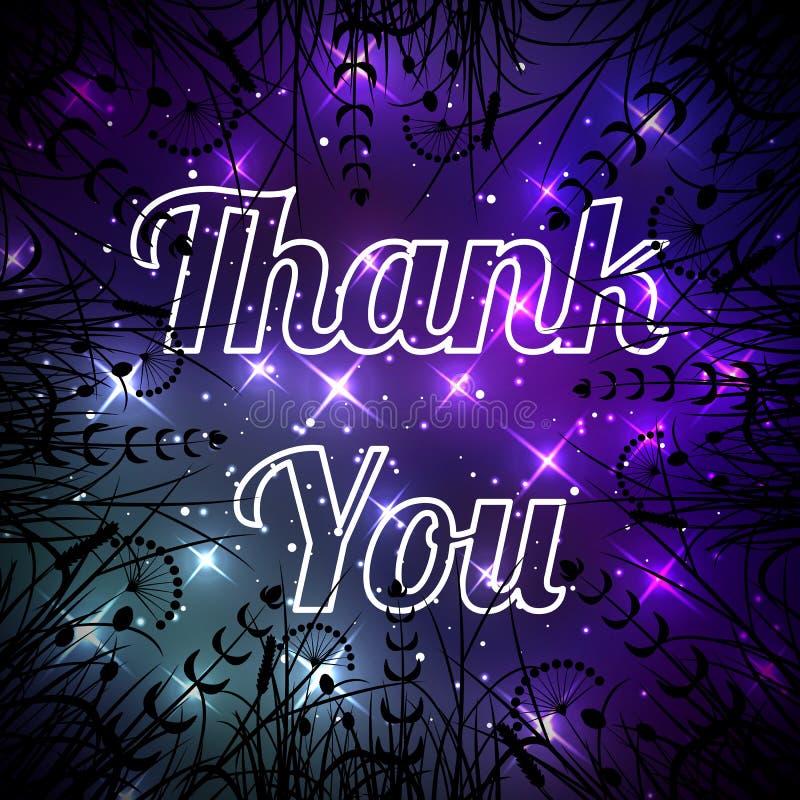 El International le agradece día Gracias del espacio El cielo nocturno con las estrellas, hierba es visible en los bordes stock de ilustración
