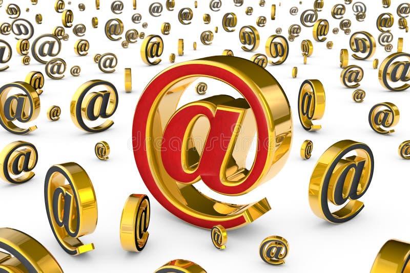 El internet address y el x28 principales; @& x29; Un solo symbo rojo y de oro del correo electrónico libre illustration