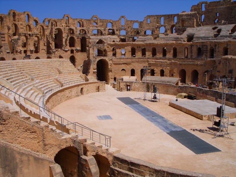 EL interno Jem Amphitheatre Tunisia foto de stock royalty free