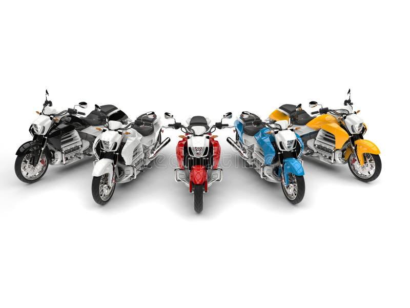 El interruptor moderno bikes en rojo, azul, amarillo, blanco y negro - remate abajo de tiro stock de ilustración