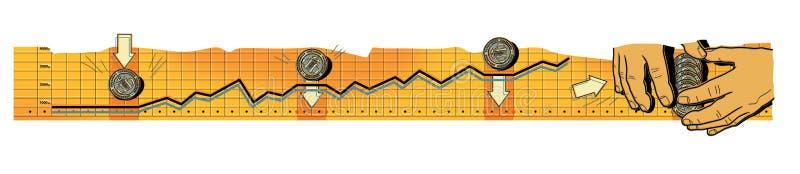 El intervalo pavimenta fondos RIESGOS FINANCIEROS La tasa de crecimiento de la rublo rusa Las manos de los hombres rastrillan el  libre illustration