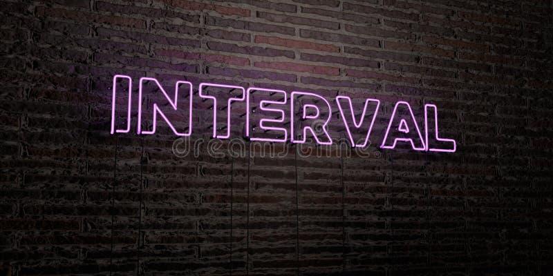 El INTERVALO - señal de neón realista en fondo de la pared de ladrillo - 3D rindió imagen común libre de los derechos stock de ilustración