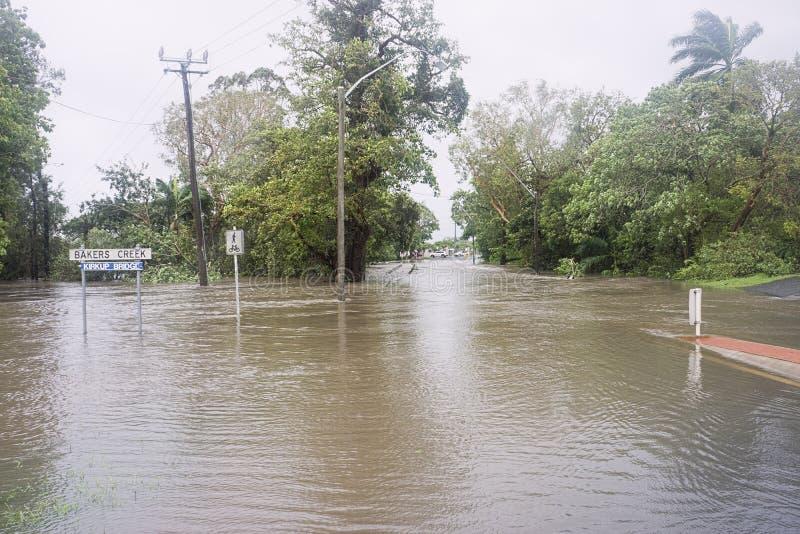 El inundar después del ciclón Debbie foto de archivo