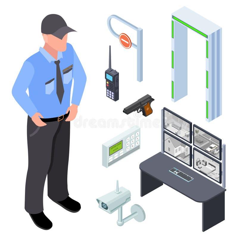 El inventario de policía, seguridad, vector isométrico del punto de control fijó ilustración del vector