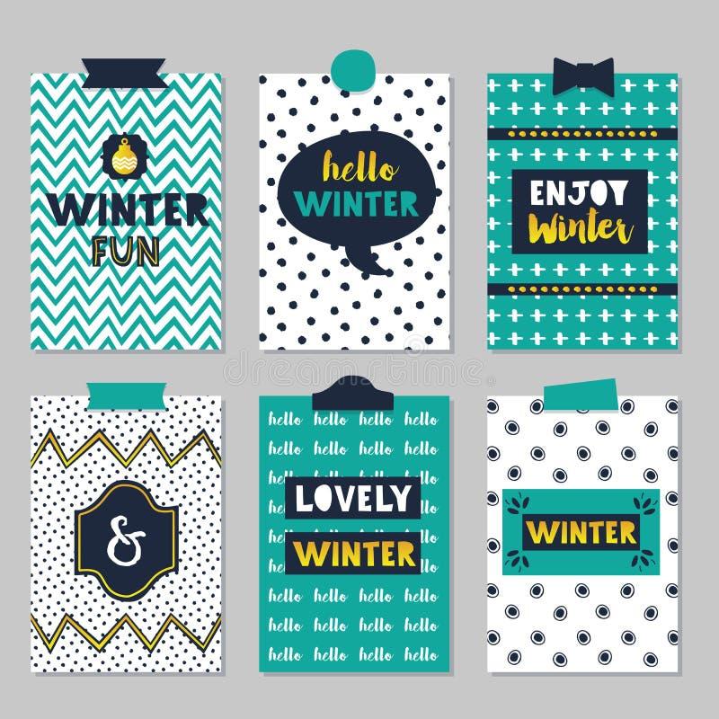 El invierno cita el sistema de tarjetas del diario en fondo de moda de los modelos de la textura libre illustration