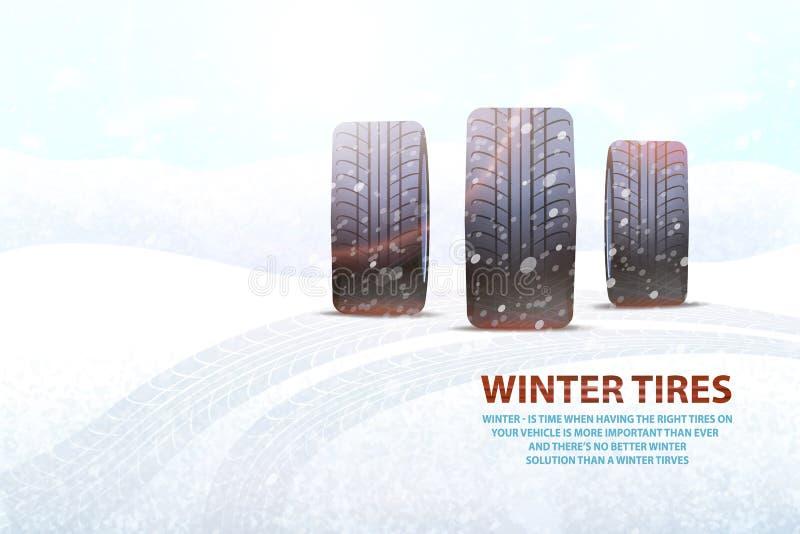 El invierno de alta calidad cansa el anuncio publicitario con lema ilustración del vector