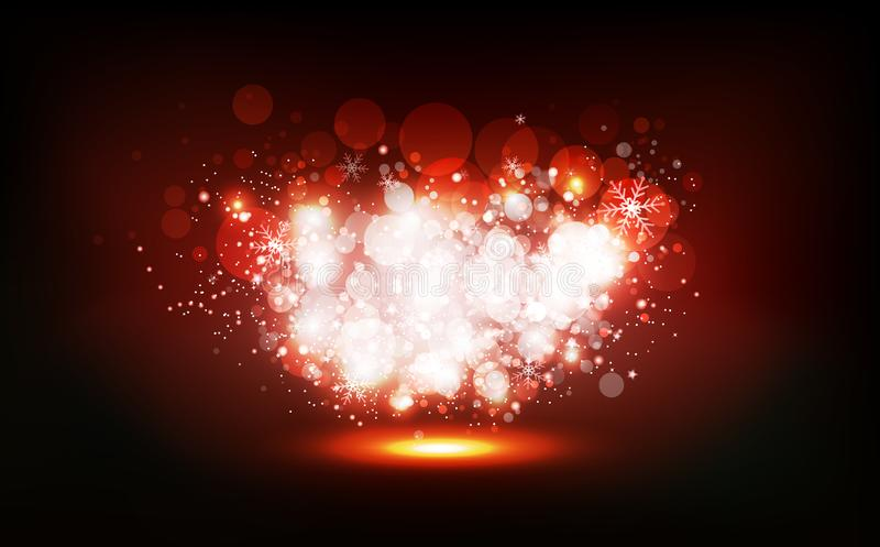 El invierno de la Navidad, estrellas dispersa para rielar el partido de neón del confeti de la celebración, polvo brillante que b libre illustration
