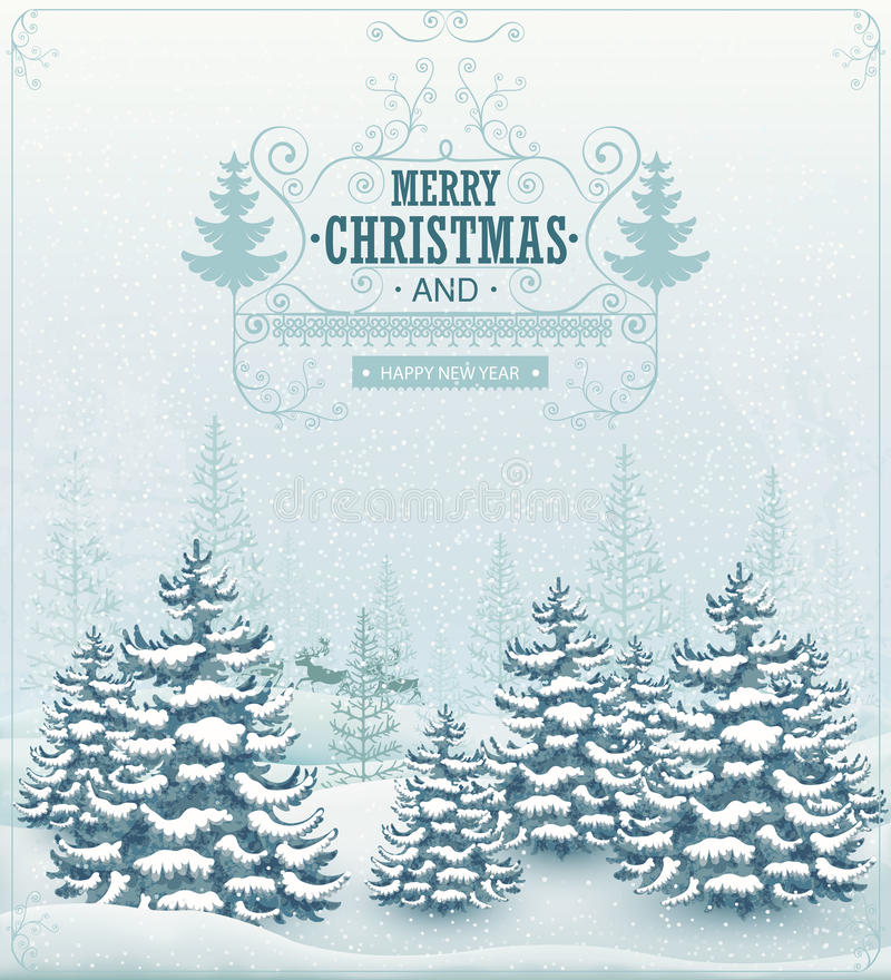 El invierno del bosque de la Feliz Navidad y de la Feliz Año Nuevo ajardina con las nevadas y atavía vector del vintage libre illustration