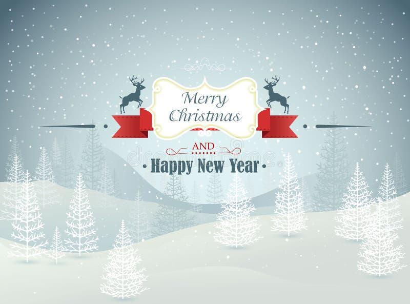El invierno del bosque de la Feliz Navidad y de la Feliz Año Nuevo ajardina con vector de las nevadas stock de ilustración