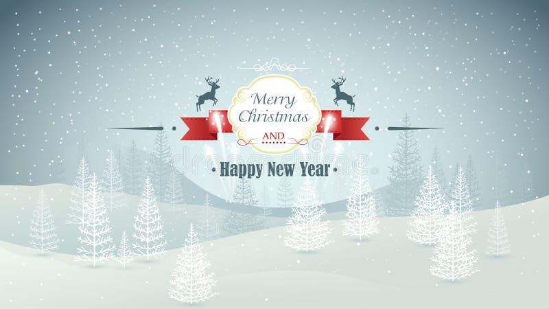 El invierno del bosque de la Feliz Navidad y de la Feliz Año Nuevo ajardina con vector de las nevadas y de los fuegos artificiale stock de ilustración