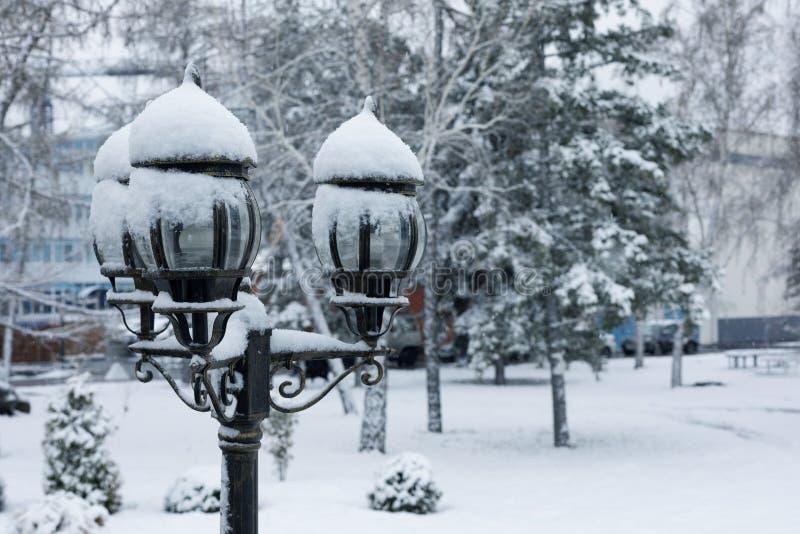 El invierno en un parque de la ciudad, nieve miente en un camino y árboles de la linterna fotografía de archivo libre de regalías