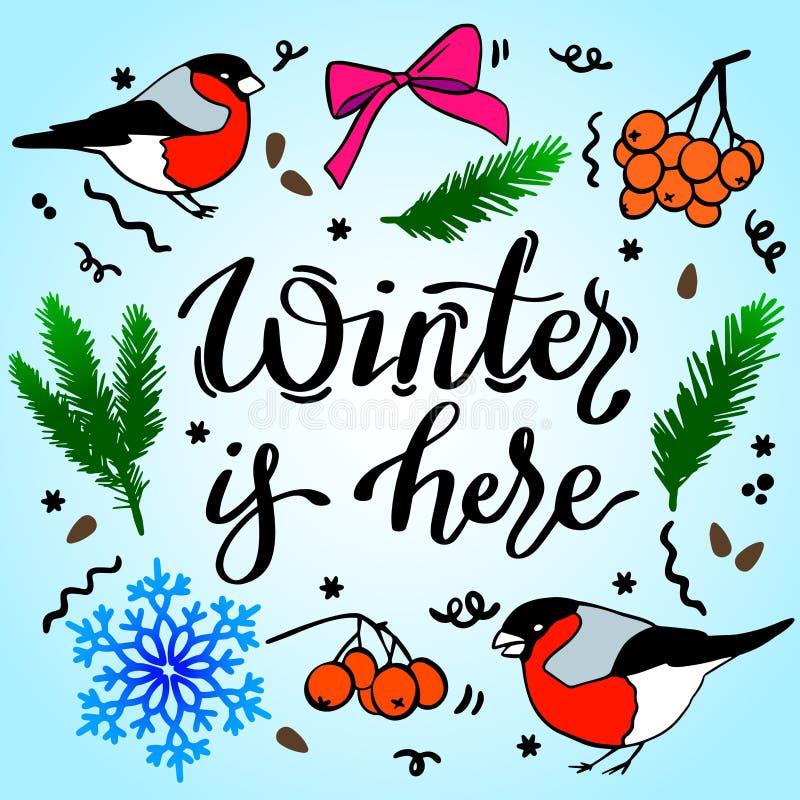 El invierno está aquí, dibujo de contorno vectorial, ilustración estacional dibujada a mano fotografía de archivo