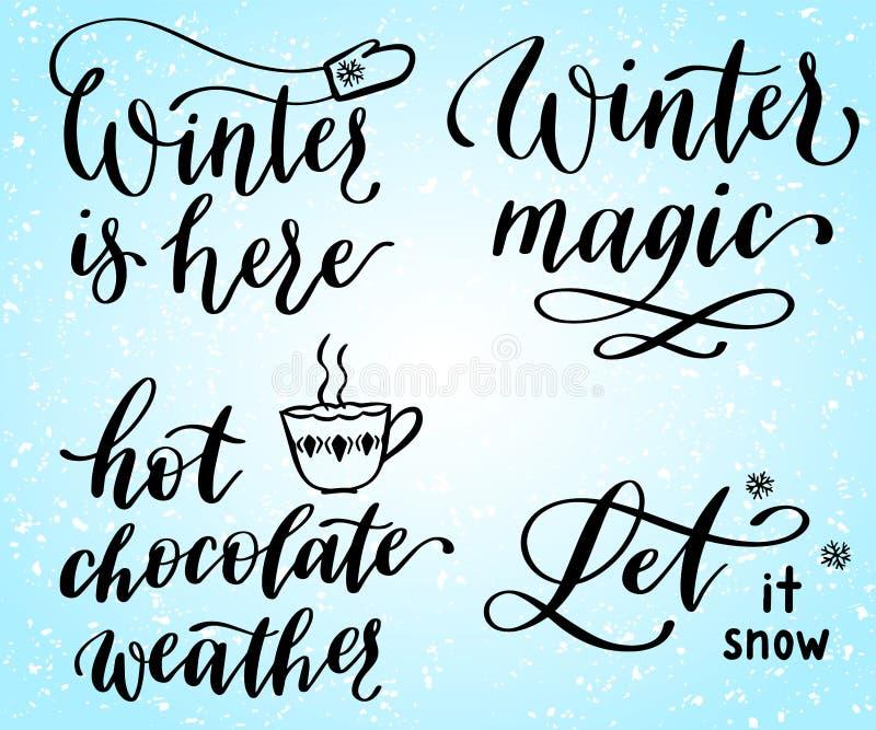 El invierno está aquí. Hermosas citas escritas a mano vectorial foto de archivo libre de regalías