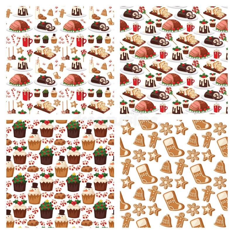 El invierno festivo tradicional del vector dulce de la celebración de la comida de la Navidad y de Navidad de la decoración del d libre illustration