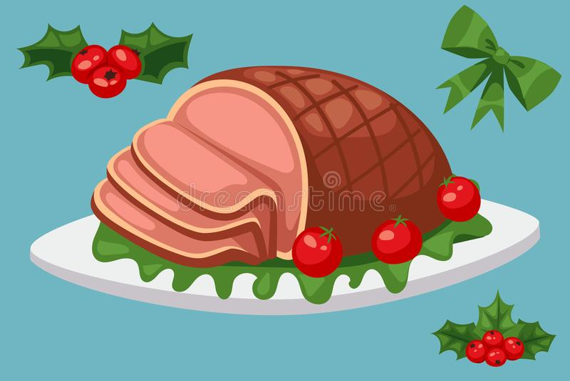 El invierno festivo tradicional del vector dulce de la celebración de la comida de la Navidad y de Navidad de la decoración del d ilustración del vector