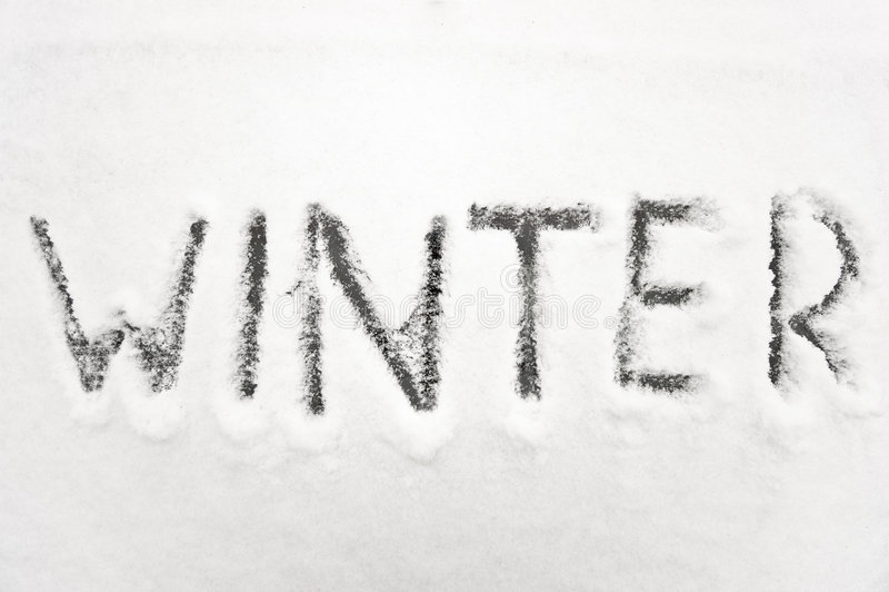 El invierno firma adentro nieve foto de archivo