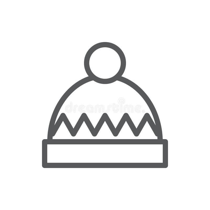 El invierno hizo punto el ejemplo editable del vector del icono del sombrero - ropa estacional caliente adornada con el modelo y  libre illustration