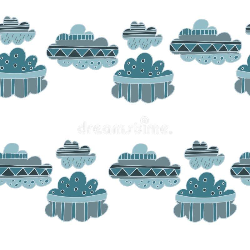 El invierno se nubla el modelo inconsútil dibujado mano ilustración del vector