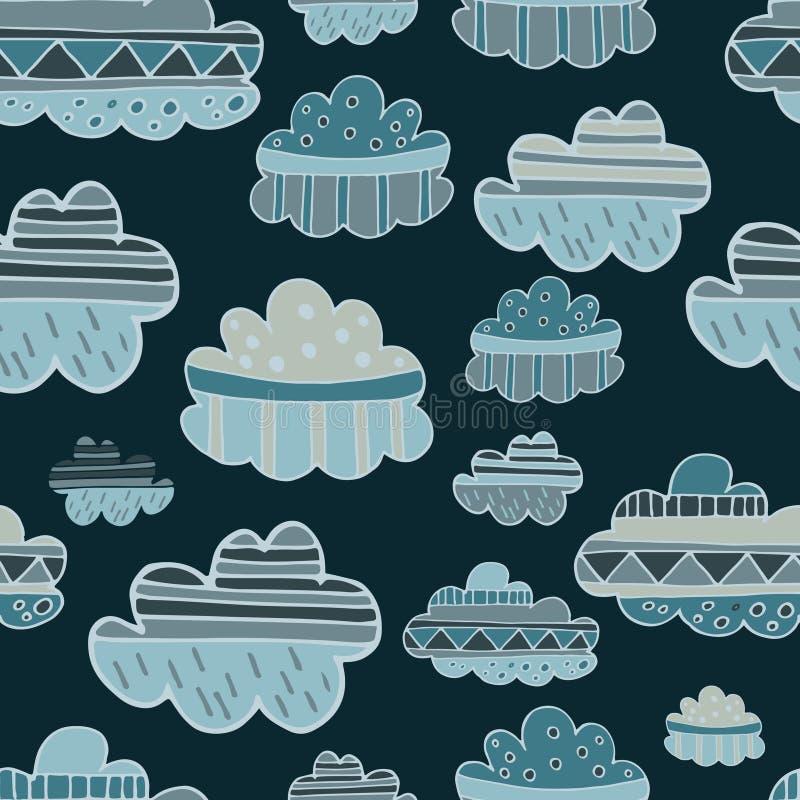 El invierno se nubla el modelo inconsútil dibujado mano stock de ilustración