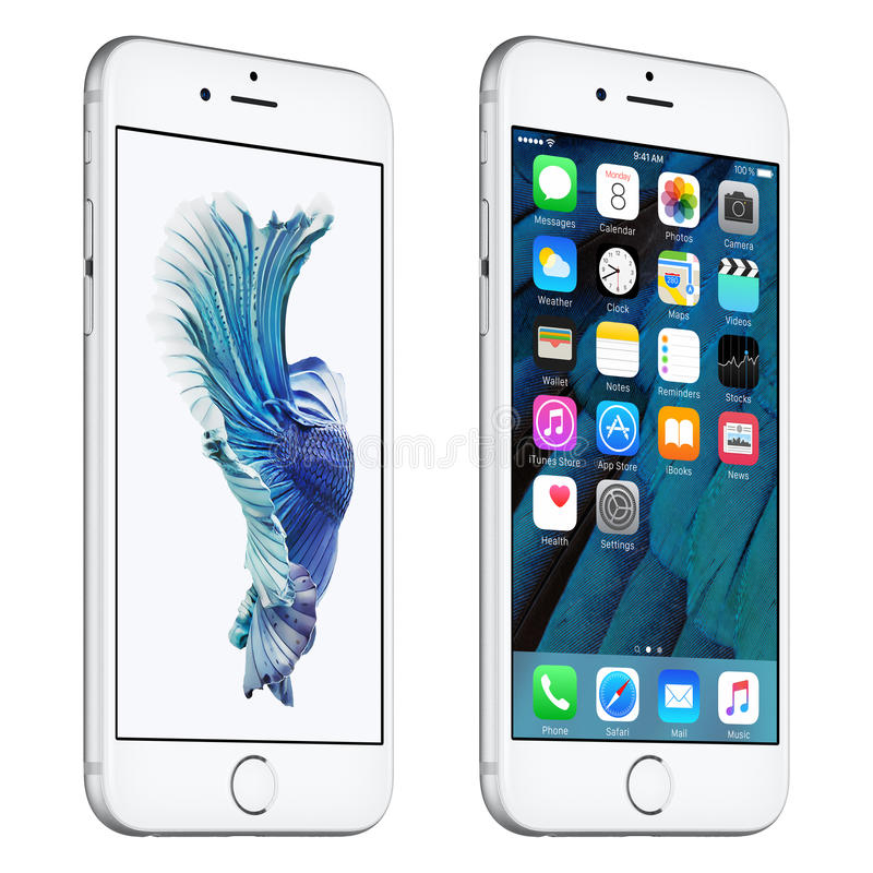El iPhone de plata 6s de Apple giró levemente vista delantera con IOS 9 stock de ilustración