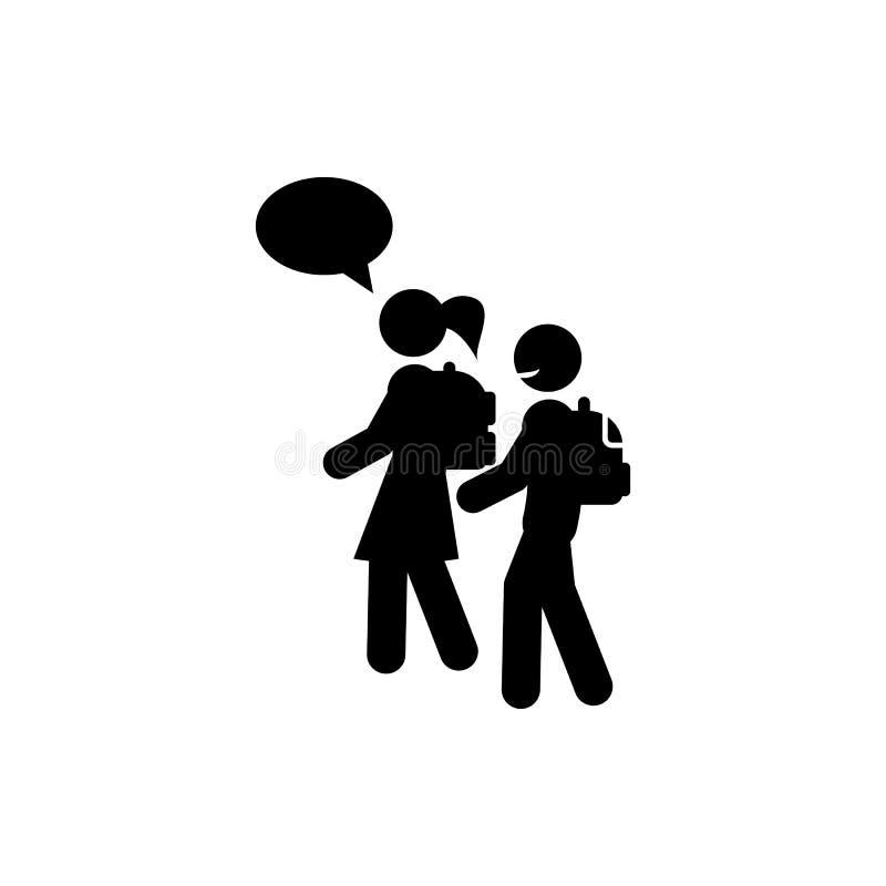 el ir al icono de los alumnos Elemento de nuevo al icono de la escuela para los apps móviles del concepto y del web Glyph que va  libre illustration