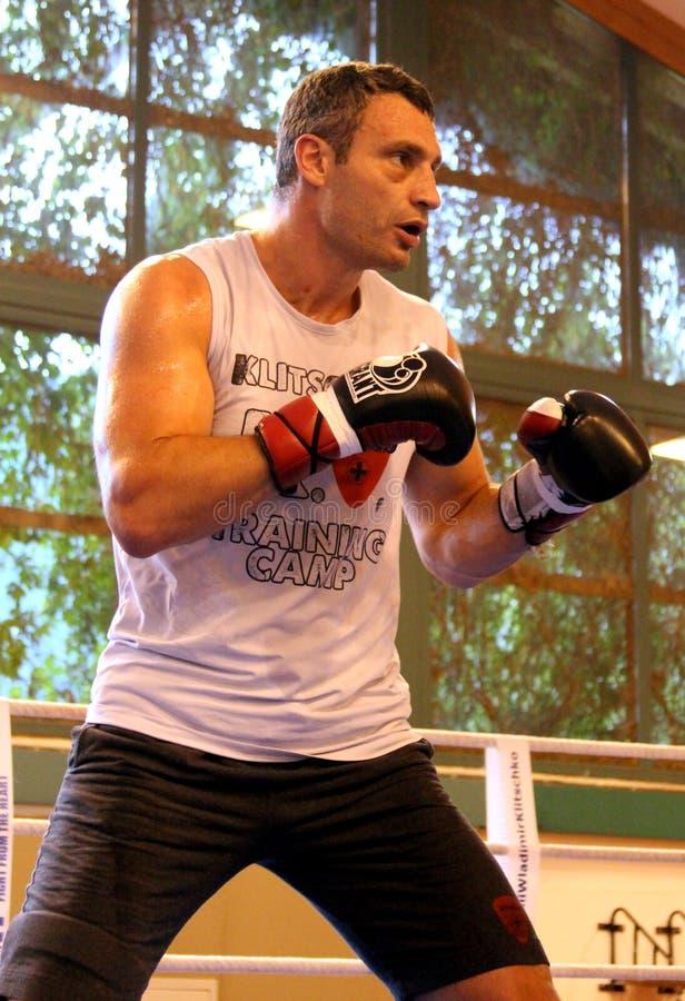 Boxeador pesado Vitali Klitschko del campeón del mundo actual que consigue listo para la lucha del campeonato imagenes de archivo