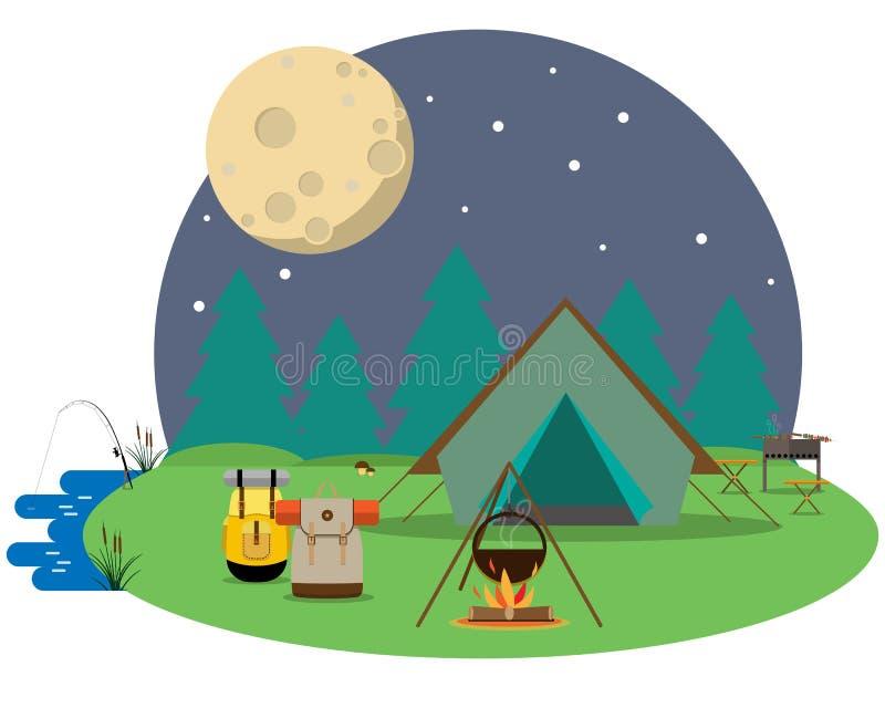 El ir de excursión en el bosque libre illustration