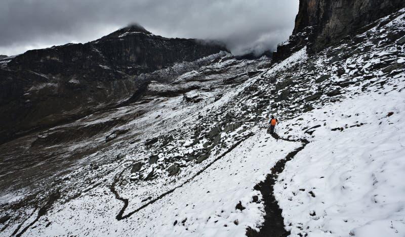 El ir de excursión en manera de la nieve foto de archivo libre de regalías