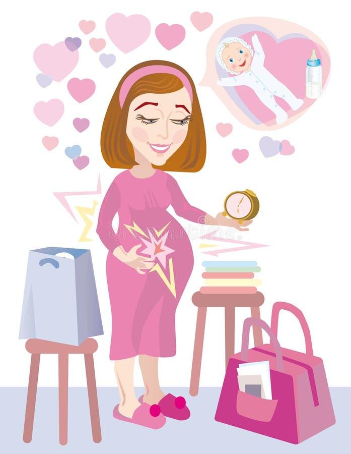 El ir embarazado al hospital ilustración del vector