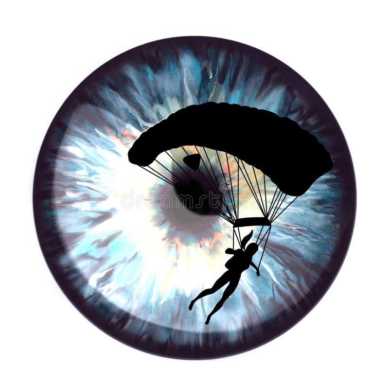 El iris con un flash del sol reflejó en él y la silueta negra del paracaidista ilustración del vector