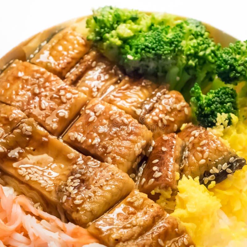 El japonés asó a la parrilla la anguila y el arroz en sistema del cuenco foto de archivo libre de regalías