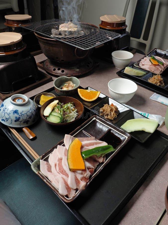 El japonés asó el menú determinado del cerdo fotos de archivo