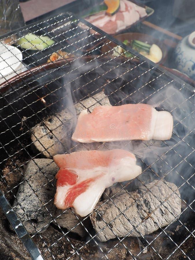 El japonés asó el menú determinado del cerdo imagen de archivo